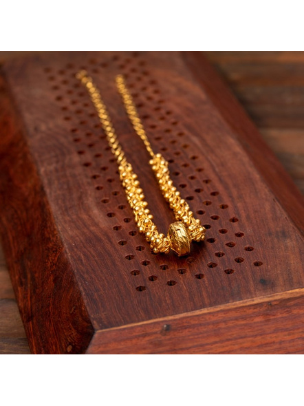 Gold plated Designer Focal Bead Choker with adjustable chain-Gold-Copper-Adult-Female-44CM-1