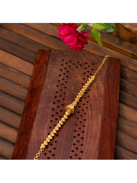 Gold plated Designer Focal Bead Choker with adjustable chain-LAAGP15NLS07