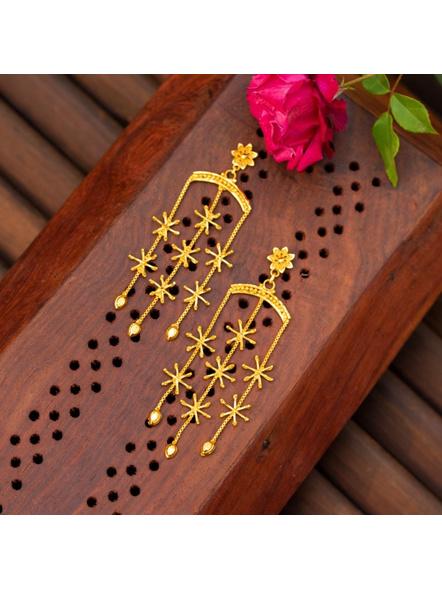 Gold Plated Designer Floral Stud Dangler-1