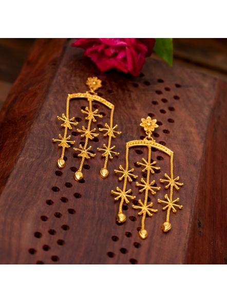 Gold Plated Designer Floral Stud Dangler-LAAER327
