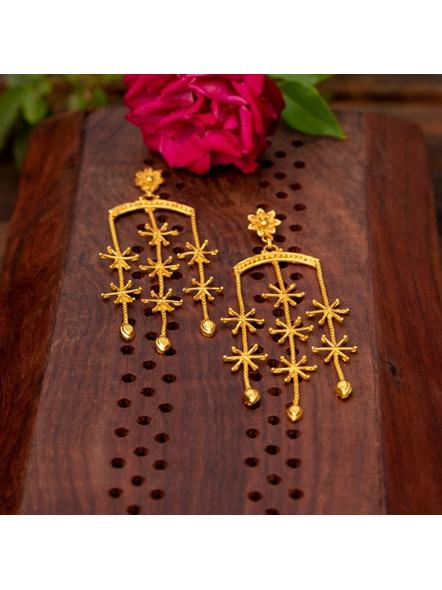 Gold Plated Designer Floral Stud Dangler-2