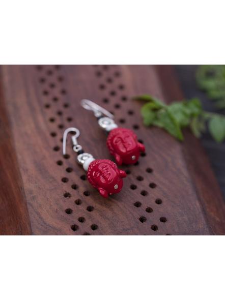 Designer Cinnabar Red Buddha Head Earring with Semi Precious Jasper and German Silver Floral charm-Red-Cinnabar-Adult-Female-6.5cm-1