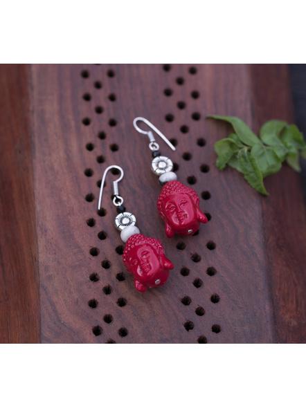 Designer Cinnabar Red Buddha Head Earring with Semi Precious Jasper and German Silver Floral charm-LAAER331