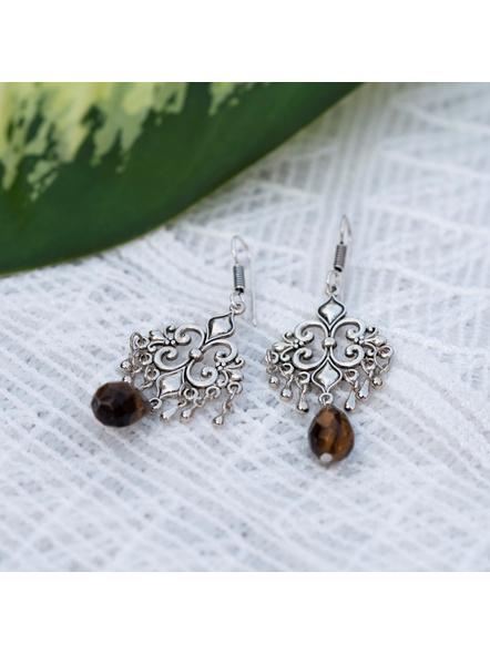 Designer German Silver Charm earring with Semi Precious Tiger Eye Drop-Silver-German Silver-Adult-Female-7cm-3