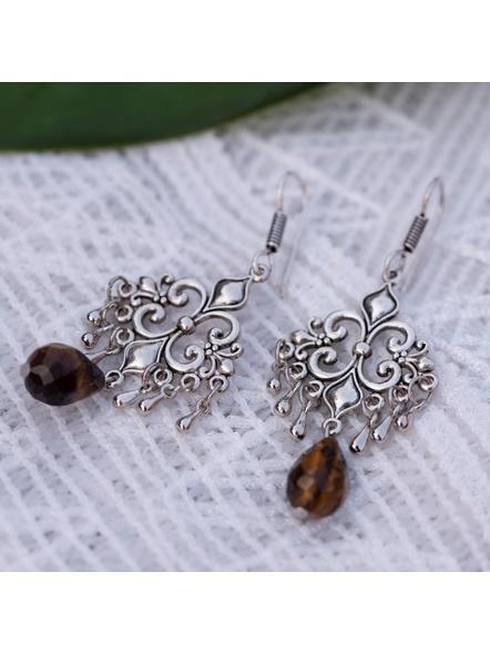 Designer German Silver Charm earring with Semi Precious Tiger Eye Drop-Silver-German Silver-Adult-Female-7cm-1