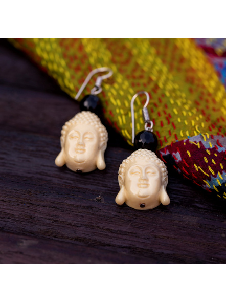 Designer Acrylic Beige Buddha Head Earring with Semi Precious Black Onyx-White-Acrylic-Adult-Female-5.5cm-3