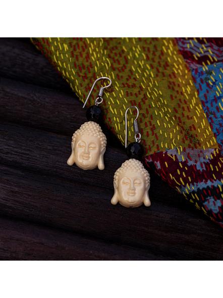 Designer Acrylic Beige Buddha Head Earring with Semi Precious Black Onyx-White-Acrylic-Adult-Female-5.5cm-2