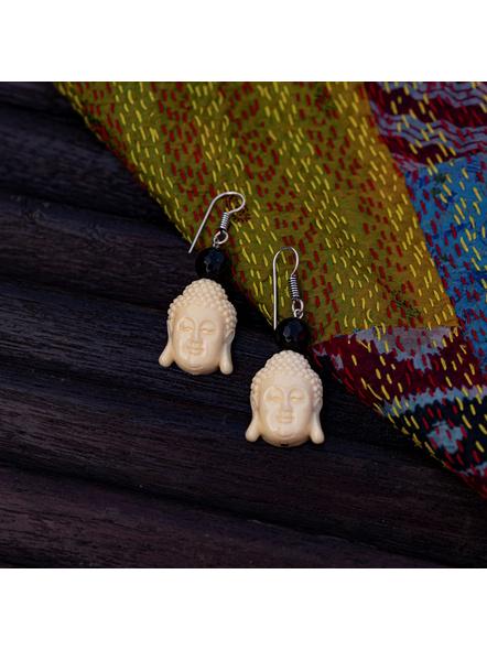 Designer Acrylic Beige Buddha Head Earring with Semi Precious Black Onyx-White-Acrylic-Adult-Female-5.5cm-1