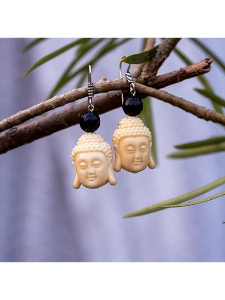Designer Acrylic Beige Buddha Head Earring with Semi Precious Black Onyx-LAAER345