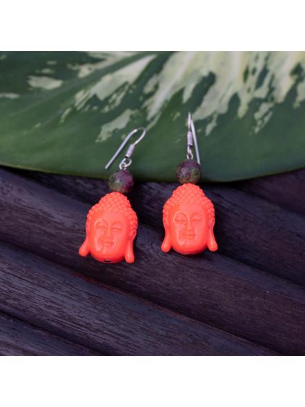 Designer Acrylic Neon Orange Buddha Head Earring with Semi Precious Moss Green Onyx-Orange-Acrylic-Adult-Female-5.7cm-4