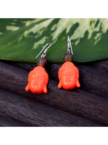 Designer Acrylic Neon Orange Buddha Head Earring with Semi Precious Moss Green Onyx-Orange-Acrylic-Adult-Female-5.7cm-3