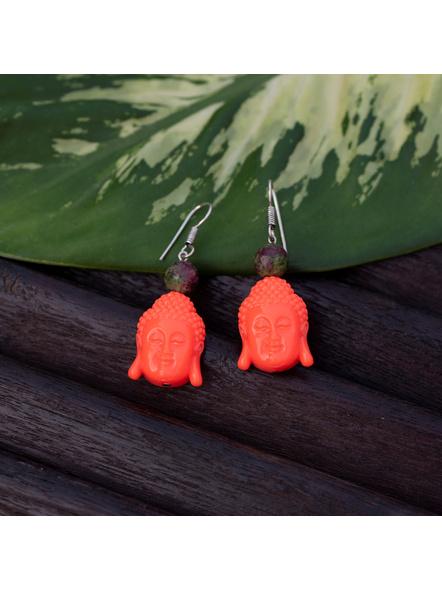 Designer Acrylic Neon Orange Buddha Head Earring with Semi Precious Moss Green Onyx-Orange-Acrylic-Adult-Female-5.7cm-2