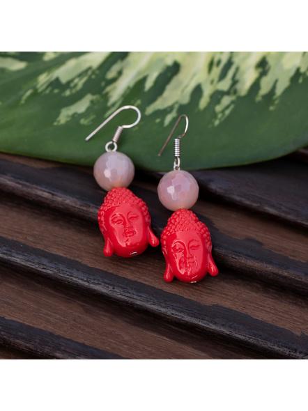 Designer Acrylic Red Buddha Head Earring with Semi Precious Light Grey Onyx-Red-Acrylic-Adult-Female-L 6cm-3