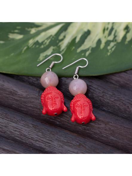Designer Acrylic Red Buddha Head Earring with Semi Precious Light Grey Onyx-Red-Acrylic-Adult-Female-L 6cm-2