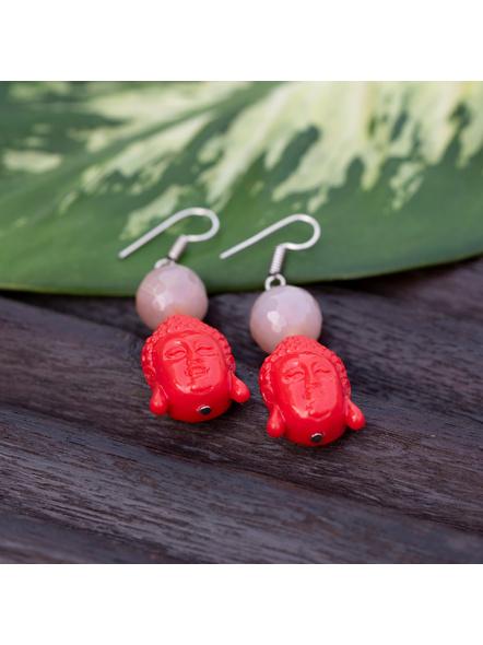 Designer Acrylic Red Buddha Head Earring with Semi Precious Light Grey Onyx-Red-Acrylic-Adult-Female-L 6cm-1