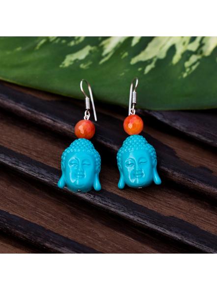 Designer Acrylic Turquoise Buddha Head Earring with Semi Precious Orange Onyx-1