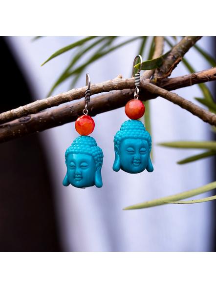 Designer Acrylic Turquoise Buddha Head Earring with Semi Precious Orange Onyx-2