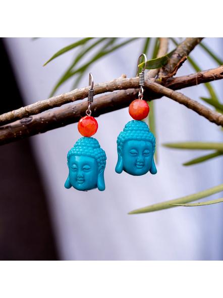 Designer Acrylic Turquoise Buddha Head Earring with Semi Precious Orange Onyx-LAAER342