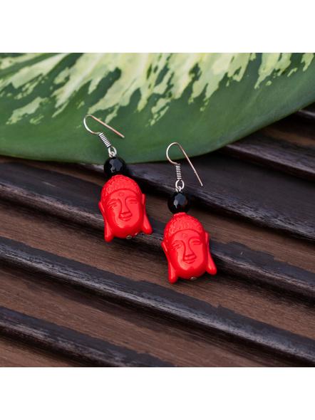 Designer Acrylic Red Buddha Head Earring with Semi Precious Black Onyx-Red-Acrylic-Adult-Female-6cm-4