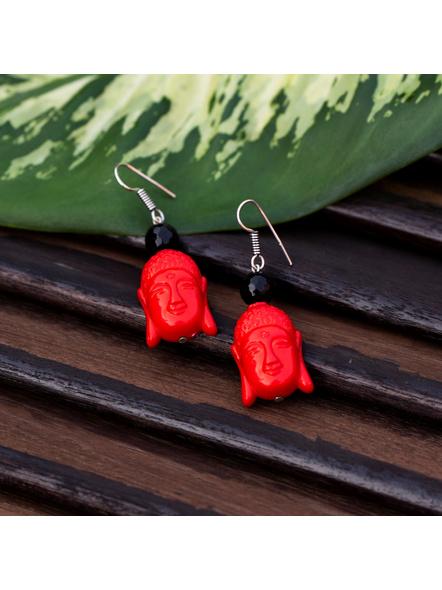 Designer Acrylic Red Buddha Head Earring with Semi Precious Black Onyx-Red-Acrylic-Adult-Female-6cm-3