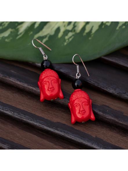 Designer Acrylic Red Buddha Head Earring with Semi Precious Black Onyx-Red-Acrylic-Adult-Female-6cm-1