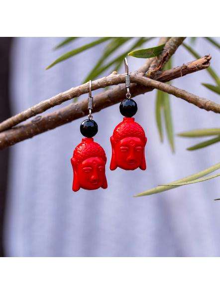 Designer Acrylic Red Buddha Head Earring with Semi Precious Black Onyx-Red-Acrylic-Adult-Female-6cm-2