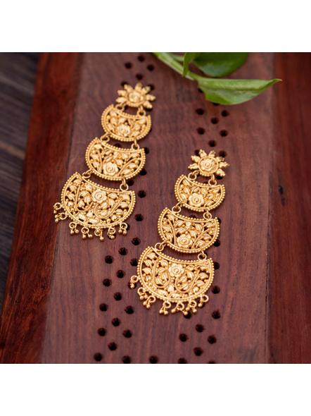 Gold Polished Floral Stud Designer Beautiful Three Layered Chandbali Earring-Gold-Copper-Adult-Female-10CM-2