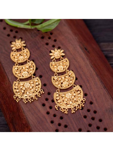 Gold Polished Floral Stud Designer Beautiful Three Layered Chandbali Earring-Gold-Copper-Adult-Female-10CM-1