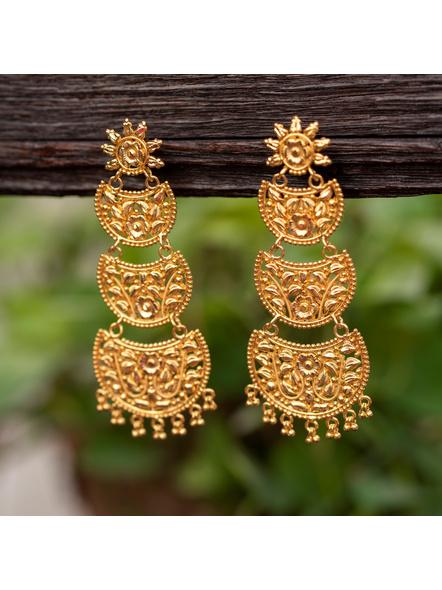 Gold Polished Floral Stud Designer Beautiful Three Layered Chandbali Earring-LAAER340