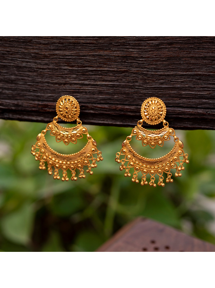 Gold Polished Oval Stud Two Layer Chandbali Earring-LAAER339