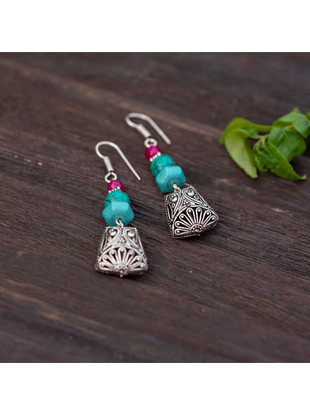 Designer German Silver Trapezium Bead Dangler Earring with Turquoise and Onyx-1