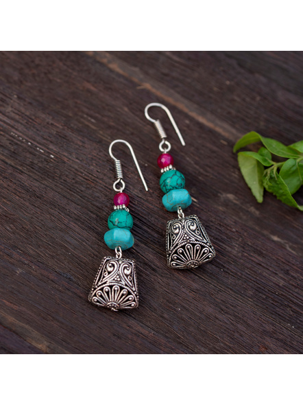 Designer German Silver Trapezium Bead Dangler Earring with Turquoise and Onyx-LAAER337