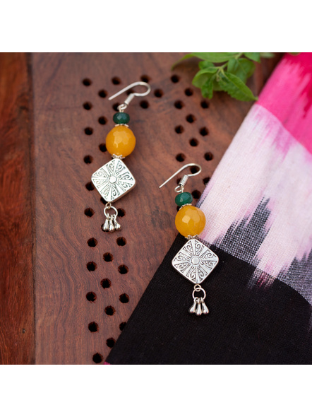 Designer Diamond Shaped German Silver Bead Earring with Semi Precious Yellow Onyx and Green Jade-LAAER336