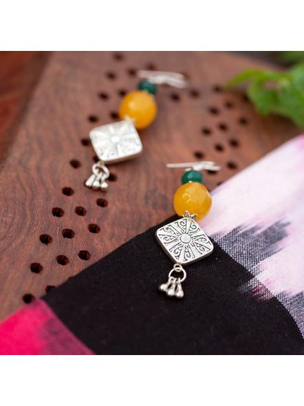 Designer Diamond Shaped German Silver Bead Earring with Semi Precious Yellow Onyx and Green Jade-1