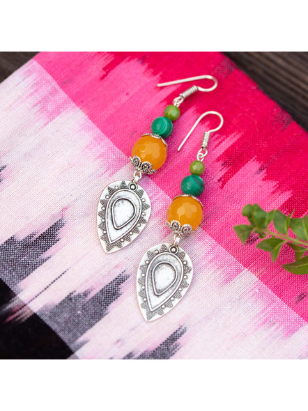 German Silver Drop Charm Earring with Emerald Green Malachite and Green Onyx-LAAER335