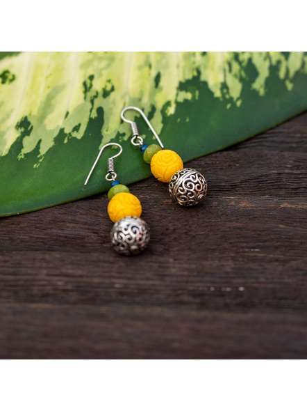 Designer German Silver Filigree Bead Earring with Yellow Carved Bead Green Jade Blue Onyx-1