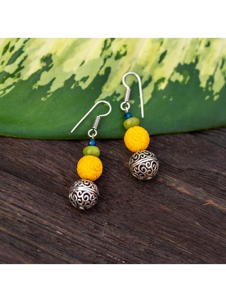 Designer German Silver Filigree Bead Earring with Yellow Carved Bead Green Jade Blue Onyx-LAAER334