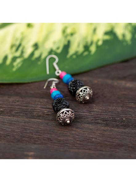 Designer German Silver Bead Dangler earring with Black carved bead Jade Onyx and Agate-Black-carved-Adult-Female-6.5cm-1