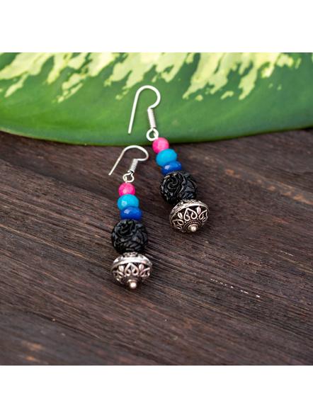 Designer German Silver Bead Dangler earring with Black carved bead Jade Onyx and Agate-LAAER332