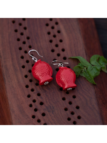 Designer Cinnabar Red Fish Head Earring with German Silver bead-LAAER330
