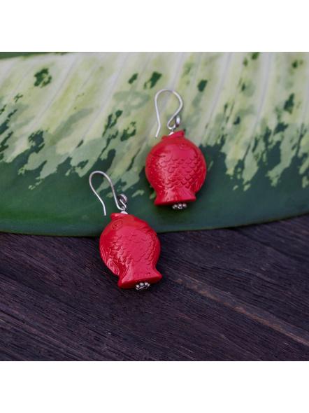 Designer Cinnabar Red Fish Head Earring with German Silver bead-Red-Cinnabar-Adult-Female-5.2cm-1