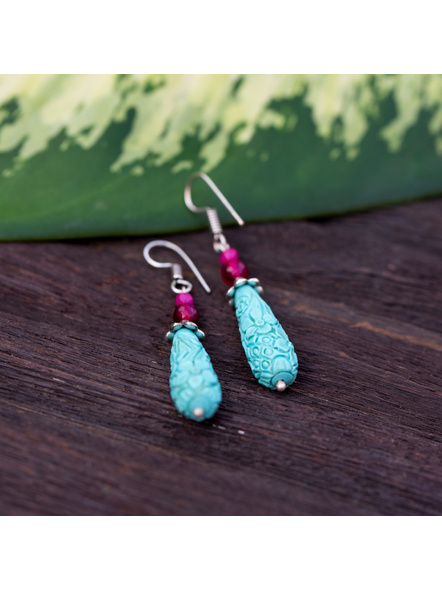 Designer Floral carved Drop Turquoise Cinnabar bead Earring with Semi Precious Onyx-Turquoise Blue-Cinnabar-Adult-Female-7cm-1