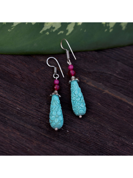 Designer Floral carved Drop Turquoise Cinnabar bead Earring with Semi Precious Onyx-LAAER329