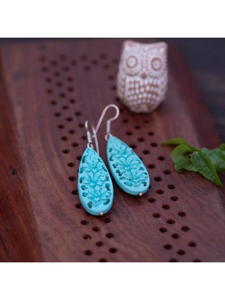 Designer Floral Drop Turquoise Cinnabar bead Earring-LAAER328