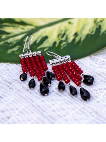 Classic Red and Black Drop Crystal Dangler Earring-4