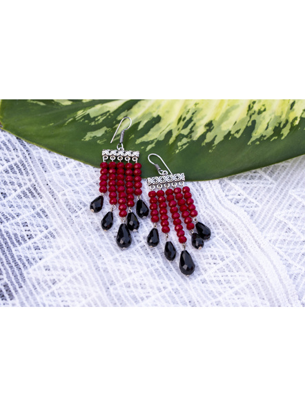 Classic Red and Black Drop Crystal Dangler Earring-5