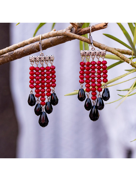 Classic Red and Black Drop Crystal Dangler Earring-LAAER311
