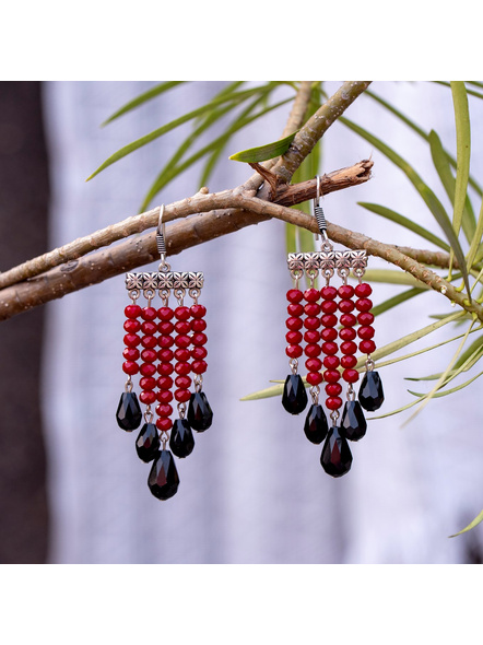Classic Red and Black Drop Crystal Dangler Earring-3