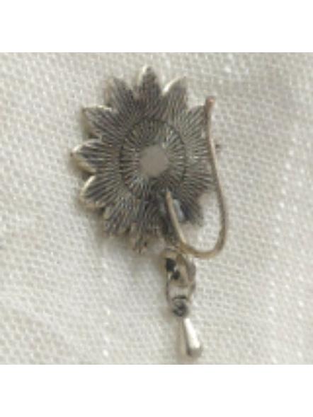 Designer Floral German Silver Clip-on Nosepin-1