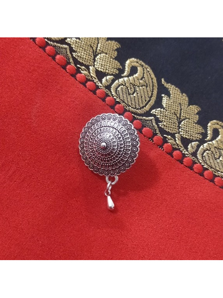 Designer German Silver Round Clip-on Nosepin-LAAGSNP010